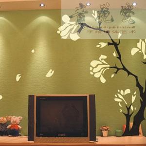 电视机背景4-遵义青花瓷手绘墙体艺术工作室
