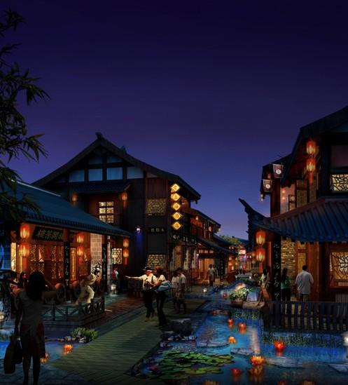 红木小镇风景手绘
